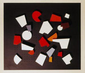 Ambiance (Mood), 1955, Holzelemente auf durchlöcherte Holzrückwand, (Sammlung Etzold)