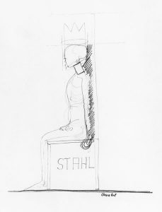 König (auf Königsstuhl), 1969, Bleistift auf Paper
