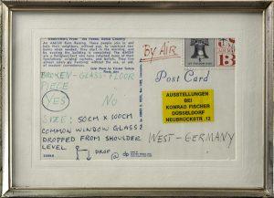 Broken-Glass-Floor Piece, 1968, Zertifikat in Form einer Postkarte mit Briefmarke und Aufkleber