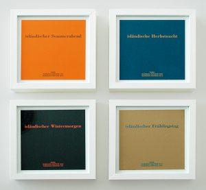 Das Jahr in isländischen Farben, 2005, Tintenstrahldruck auf Papier in Holzrahmen, 4-teilig, Jahresgabe des Museumsvereins