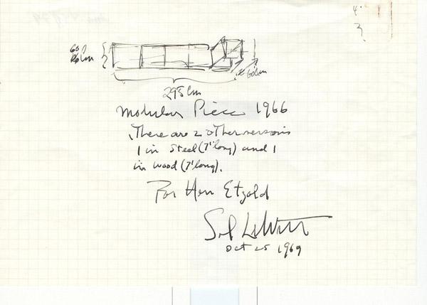 Sol LeWitt, Zertifikat zu Modular Piece, 1966