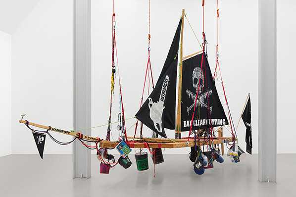 Andrea Bowers, Radical Feminist Pirate Ship Tree Sitting Platform, 2013-k