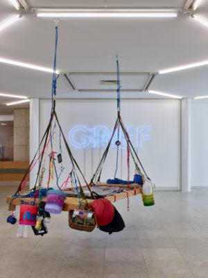 (rear) Grief Hope 2020 Neon; Courtesy of the artist, Capitain Petzel Berlin, Andrew Kreps Gallery New York, Vielmetter Los Angeles. Photo: Achim Kukulies