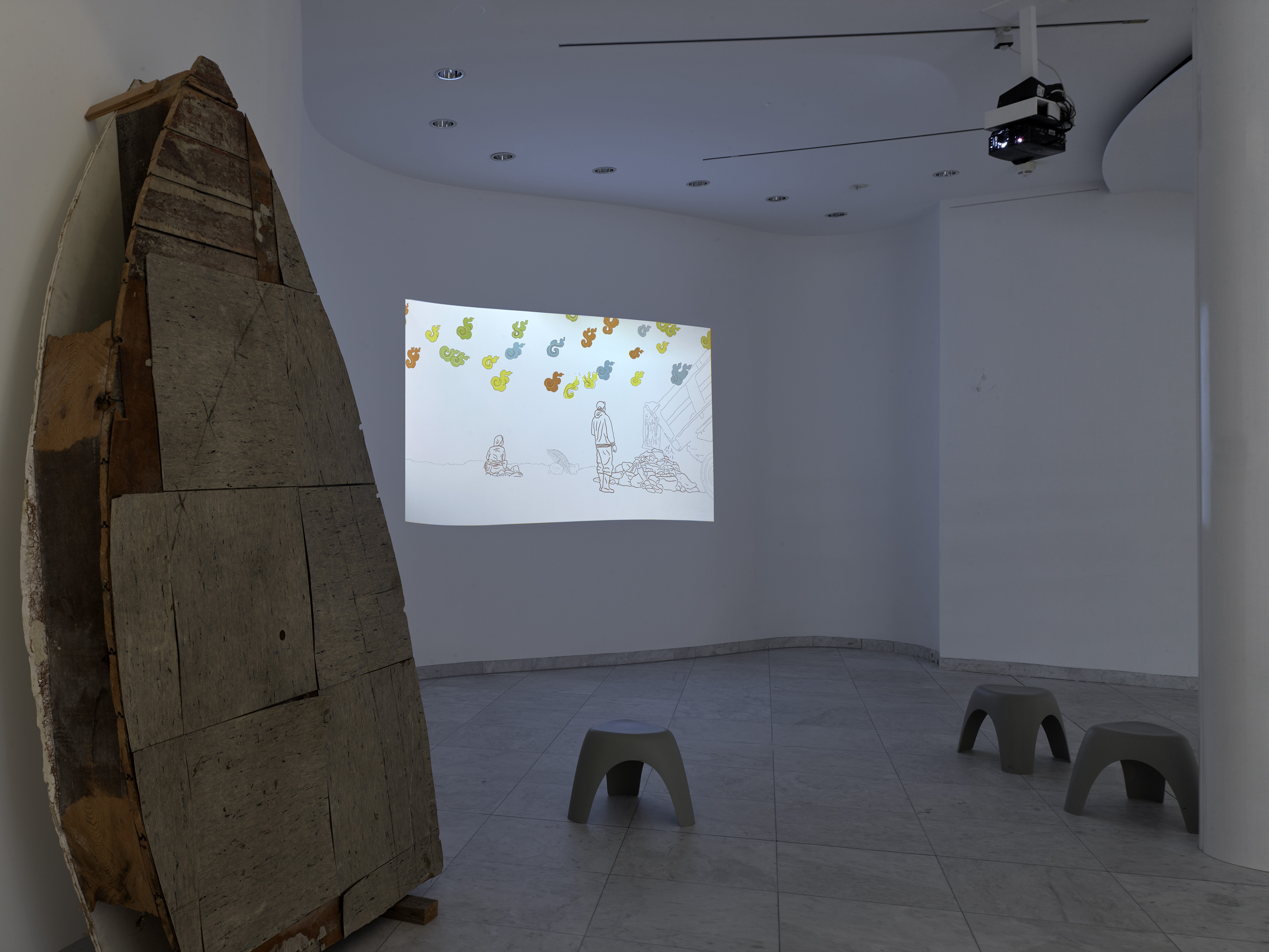 Lin+Lam, Three Missing Letters, 2020; Gordon Matta-Clark, Office Baroque, Antwerp project, 1977